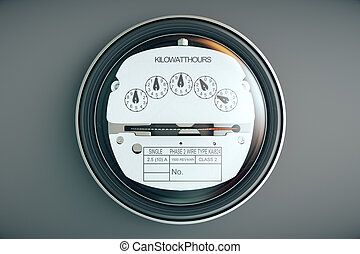 Analog electricity meter showing household consumption power...
