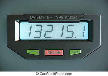 Digital electricity meter showing household consumption....