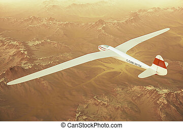 Sailplane over snow capped mountains - Sepia toned render of...