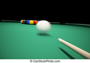 Breaking the rack in pool Billiards shot cue ball - Billiard...