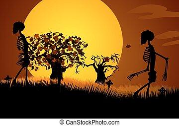 Human Skeletons Walking In Spooky Graveyard. Creepy Haloween