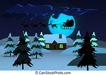 Santa Claus Driving In A Sledge At Night Christmas Xmas -...