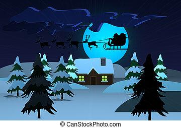 Santa Claus Driving In A Sledge At Night Christmas Xmas -...