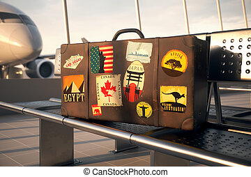 Old Brown Travel Suitcase. Trip Luggage Stickers - Suitcase...