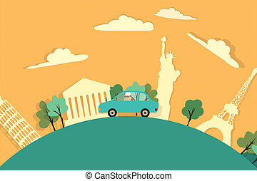 Man Travelling Globally.Car Road Trip - Man Travelling With...