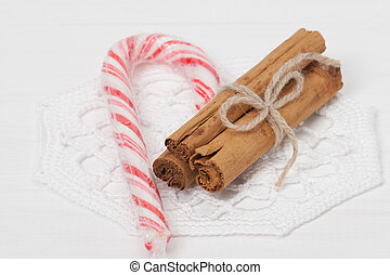 Christmas Candy Cane Cinnamon Sticks On Crochet Napkin