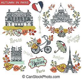Autumn in Paris - Paris Famous landmarks with autumn leaves...