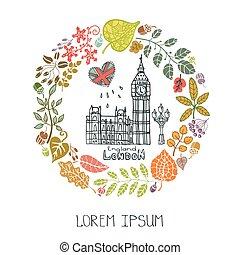 London landmark - London Famous landmarks with autumn leaves...
