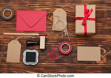 Business Identity Mock Up Item Set On Wooden Background.