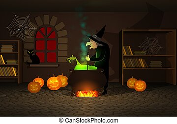 Witch Preparing A Potion In Cauldron With Halloween Pumpkins...