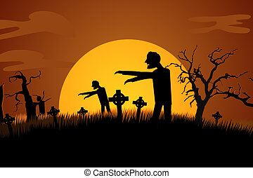 Zombies Rising At Spooky Graveyard. Spooky Scary Haloween