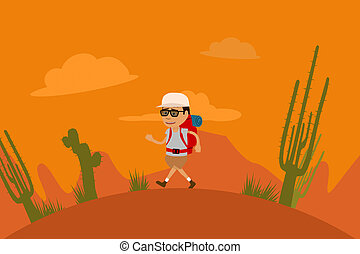 Tourist Walking On Prairie Vacations Adventure - Tourist...