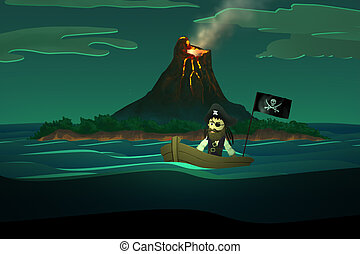 Pirate On Boat. Castaway Ocean Calm - Pirate On Boat In Calm...