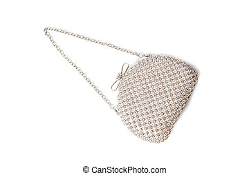 White clutch with diamonds on isolated white background