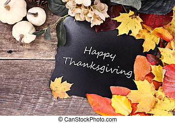 Fall Leaves Blackboard - Chalk board with text Happy...