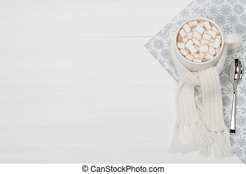 Mug Of Hot Chocolate With Scarf. Marshmallows. Christmas...