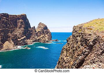 Madeira, cliff coast at Ponta de Sao Lourenco - Mountainous...