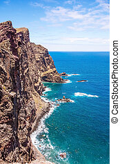 Madeira, cliff coast at Ponta de Sao Lourenco - Mountainous...