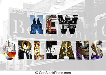 New Orleans concept - New Orleans spelled out with iconic...