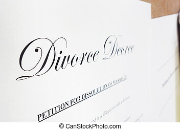 Divorce decree - Closeup of a divorce decree document...