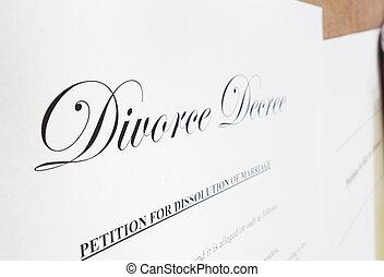 Divorce decree - Closeup of a divorce decree document...