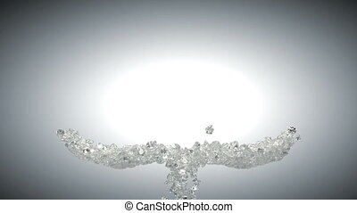 Large sparkling diamonds flow heart
