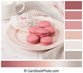 Macaroons Biscuits Handmade Heart Rustic Style Palette With...