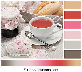 Shabby Chic. Handmade Heart, Napkins, Table Cloth, Tray. Cup...
