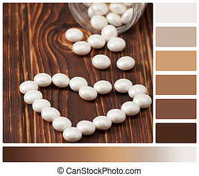 Sweetheart. Heart Shape Made Of Pearl Sweets. Palette With...