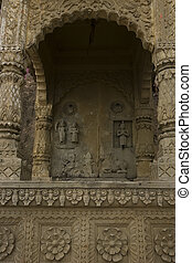 Deco Temple in VARANASI, INDIA - Stone relief detail in...
