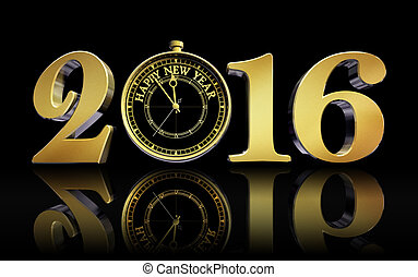 happy new year 2016 gold clock concept business card
