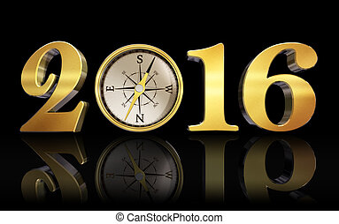 new year 2016 compass golden number