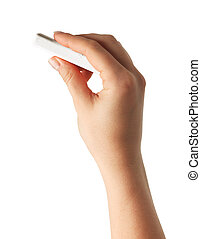 Hand holding white chalk and starting to write isolated on...