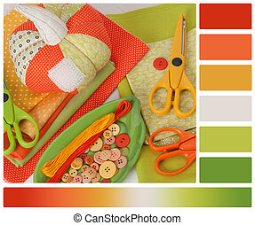 Handmade Pumpkin. Tailoring Hobby Accessories. Palette With...