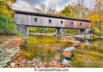Olins Dewey Road Covered Bridge in Autumn - The Olin or...