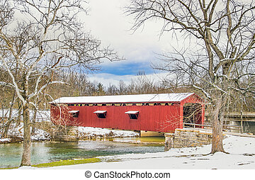 Snowy Covered Bridge and Sycamores - Framed by huge sycamore...