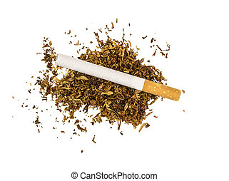 cigarette lies on a piece of dry tobacco