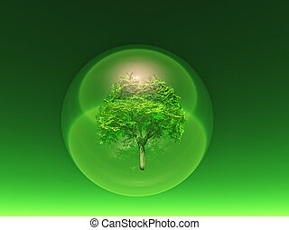 biosphere - a tree inside a transparent bubble on green...