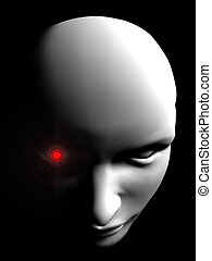 angry human robot face person on black background