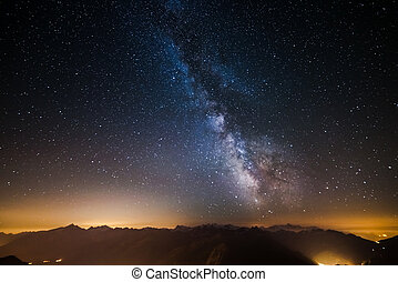 The Milky Way viewed from high up in the Alps - The...