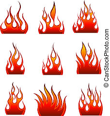 fire icon set - Set of fire vector icons for design use