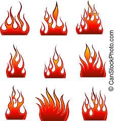 火, アイコン, セット