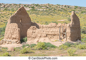 Ruin of a millhouse on the Roof of Namaqualand trail between...