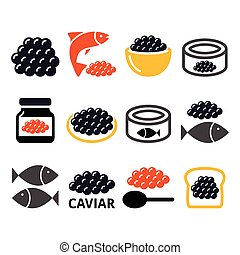 Caviar, roe, fish eggs icons set - Food, restaurant vector...