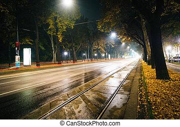 Parkring at night, in Vienna, Austria.