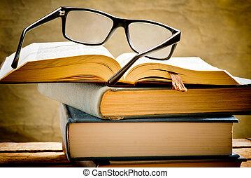 書, 打開, 閱讀, 眼鏡