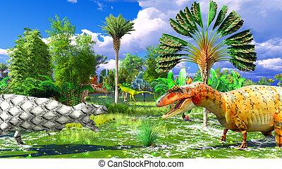 tropical, Dinosaurio, parque,