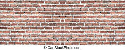 Red, Brown brick wall texture panorama