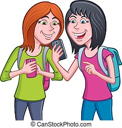 Teen Girls Using Their Cell Phones - Cartoon illustration of...