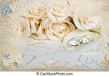 wedding rose and ring with net - White rose bouquet and...